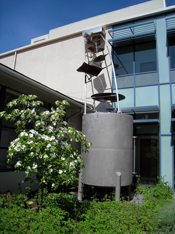 Image of a rainwater collection tank for Mills College.