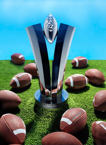 Image of the Pac 12 championship trophy.