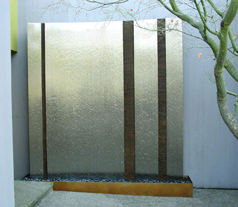 Image of a bronze and stainless steel waterwall.